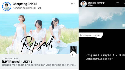 BNK48 Cherprang Areekul asked fans to watch JKT48's Rapsodi MV