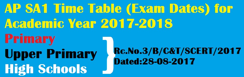 AP SA 1 Exams Time Table Summative Assessment I 2017