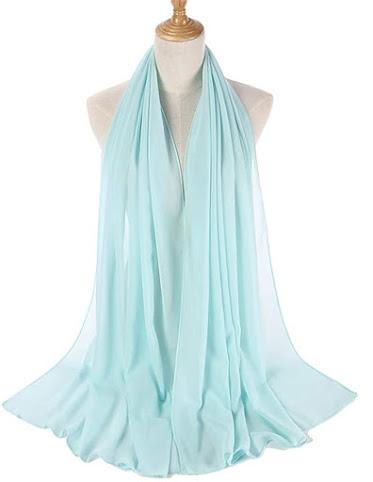 Turquoise Plain Chiffon Scarves Shawls Wraps