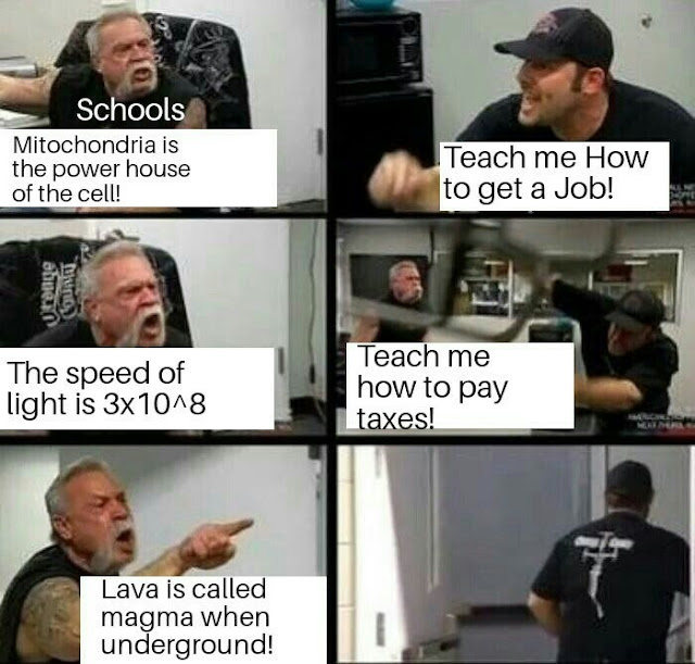 c++ vs java meme - Schools Mitochondria is the power house of the cell! Teach me How to get a Job! rouge The speed of light is 3x10^8 Teach me how to pay taxes! Lava is called magma when underground!