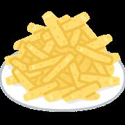お皿に盛られたフライドポテトのイラスト