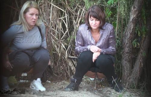 PissHunters 9332-9347 (Girls pee outdoors hidden camera. Hidden cam in public toilet)