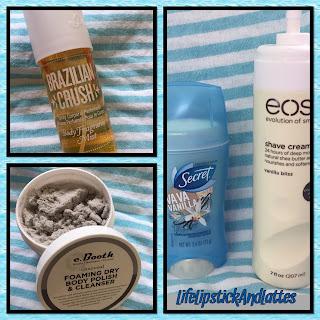 Brazilian Crush, eBooth scrub, Vanilla deodorant, eos shave cream