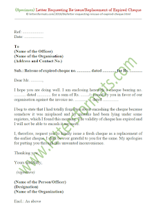 request letter for reissue of expired cheque