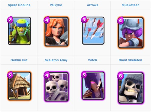 Kombinasi 3 epic skeleton untuk arena 2 dan 3 clash royale