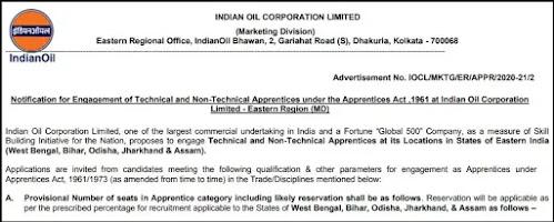 IOCL Recruitment 2021 Technical and Non-Technical Apprentices