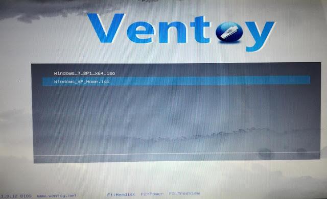 Ventoy schermata boot scelta file ISO da avviare