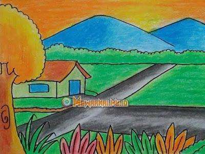 mewarnai gambar pemandangan gunung untuk anak