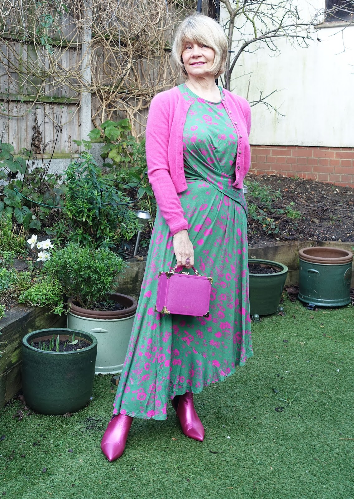 Pink and green: Gail Hanlon from over-50s blog Is This Mutton? in Studio by Preen dress and pink metallic boots