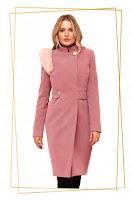 Palton PrettyGirl roz prafuit din stofa cu insertii cu blana