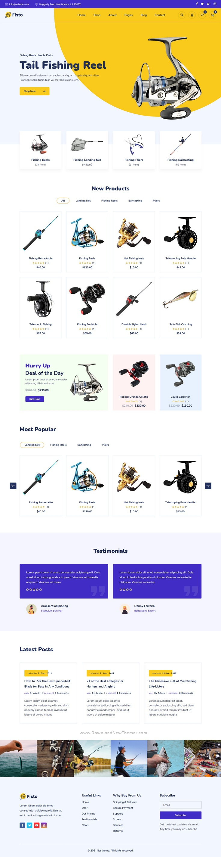 Fishing and Hunting Hobby Accessories Store HTML5 Responsive Template