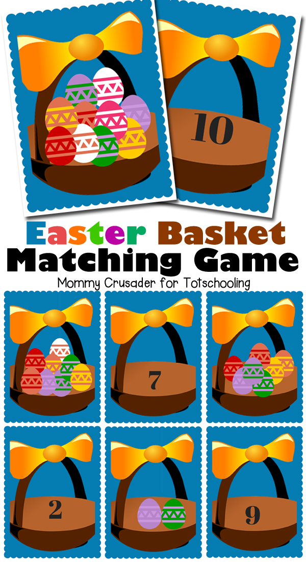 Free Printable Easter game for preschoolers to practice numbers, counting and one to one correlation.