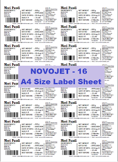 Barcode Label for Grocery Store A4 Size Laser Label Novojet 16