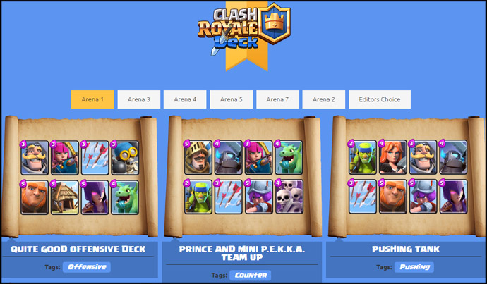 Sites para criar e encontrar decks de clash royale clash for Clash royale deck arc x