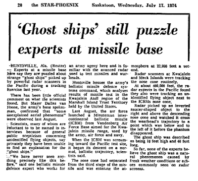 'Ghost Ships' Still Puzzle Experts at Missile Basa - Star Phoenix 7-17-1974