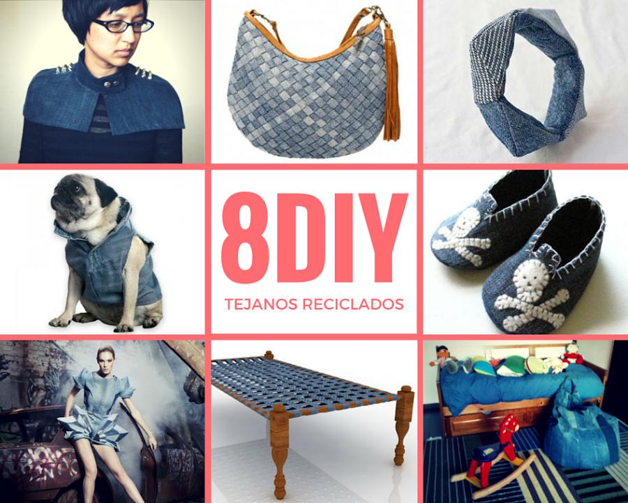 8 impresionantes DIY de reciclaje de tejanos,vaqueros,denim que podrás realizar con tus manos con tutoriales e ideas fáciles para sorprender o crear tu misma y lucirlo.