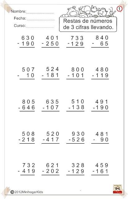 Resultado de imagen de restas llevando tres cifras