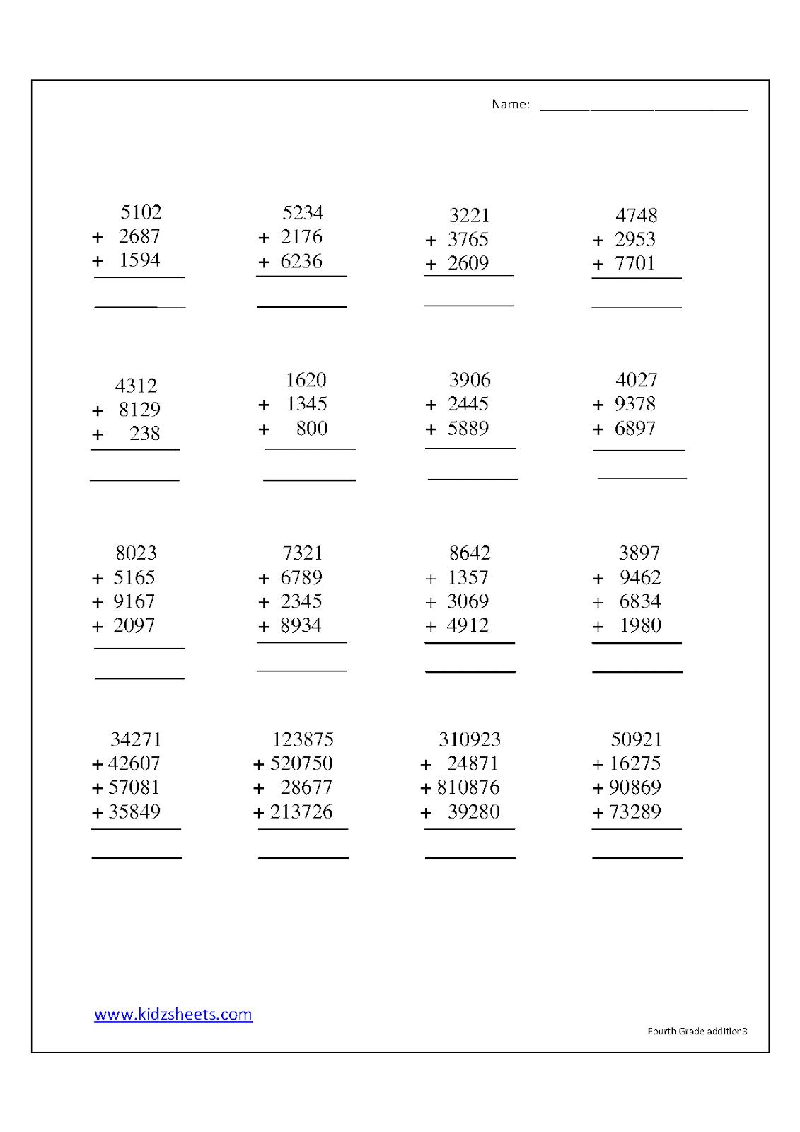Kidz Worksheets Fourth Grade Addition Worksheet3