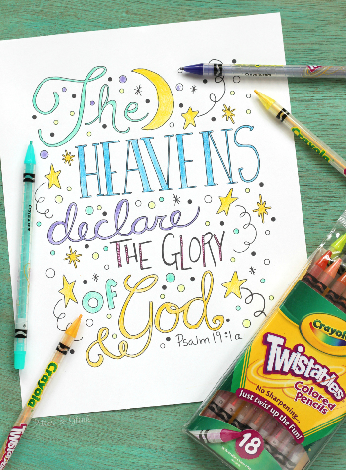 PitterAndGlink: Free Hand-Lettered Bible Verse Coloring