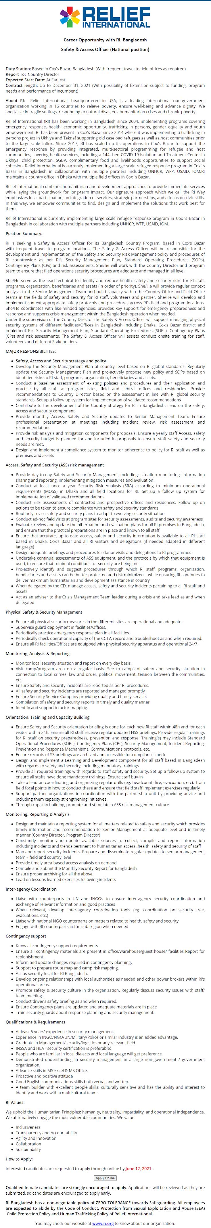 রিলিফ ইন্টারন্যাশনাল এনজিও নিয়োগ বিজ্ঞপ্তি ২০২১ - Relief International NGO Job Circular 2021