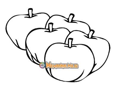 contoh gambar mewarnai buah apel