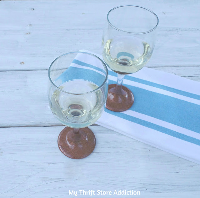 DIY hammered copper stemware
