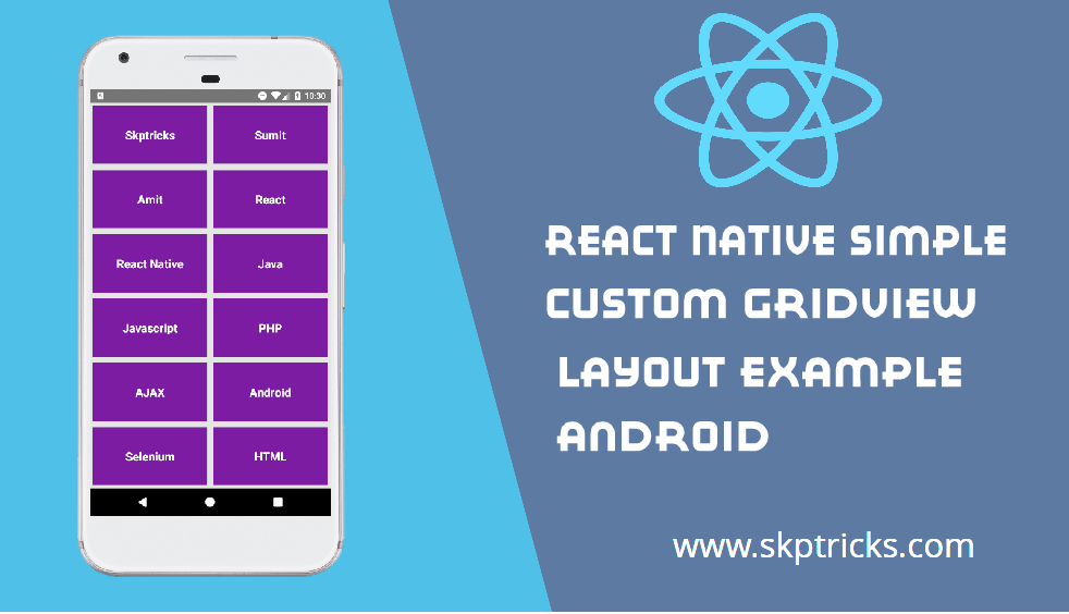React Native Simple Custom GridView Layout Example Android | SKPTRICKS