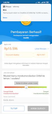 berhasil melakukan transaksi dengan OneKlik dari Aplikasi Dana