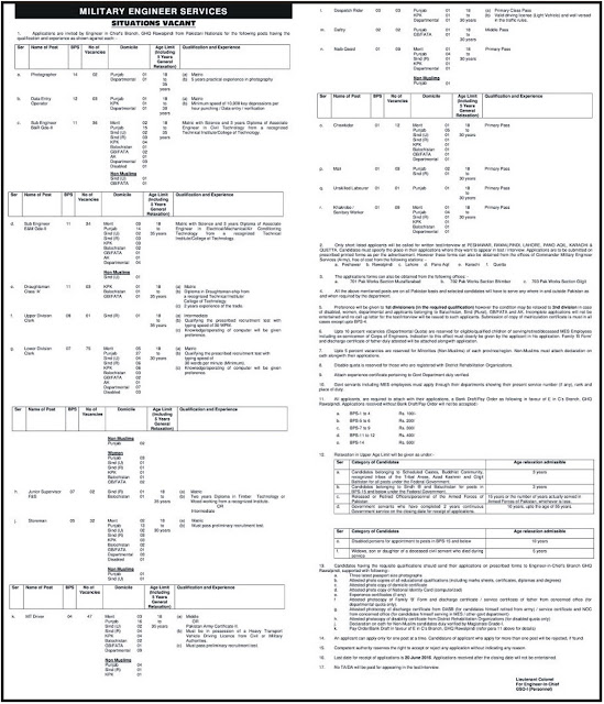 Admin and Engineering Jobs in Pakistan Military Engineering Services Jobs for DAE & Matric / Inter