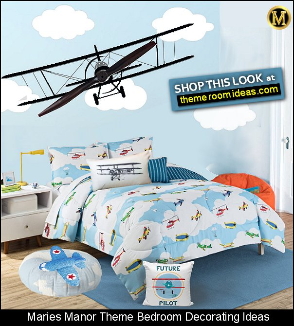 planes biplane airplane wall decal  In The Clouds Comforter  Vintage Plane Pillow Cover