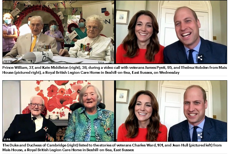 Duchess Kate and Prince William  Celebrate 75th Anniversary of VE Day with WW11 Veterans