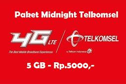 Paket Midnight Telkomsel Termurah 5GB Rp 5000