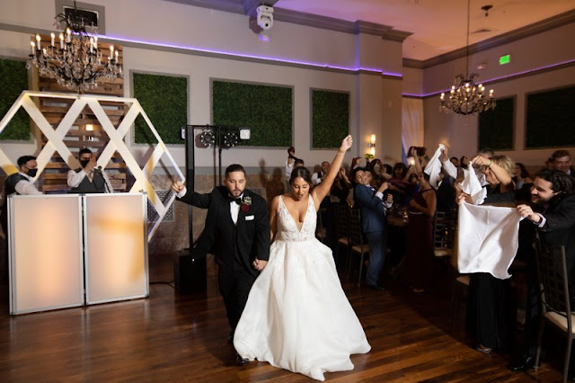 dancing bride and groom in reception
