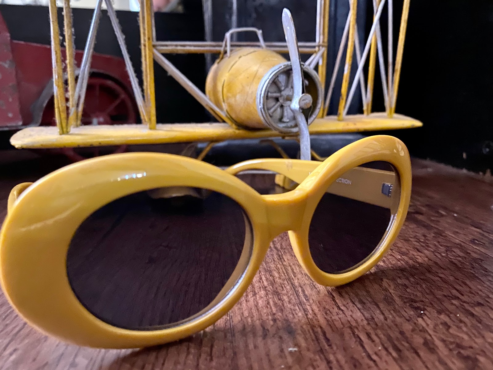 Yellow Clout Glasses From The Thrift Store. Thrift Bits and Favorites
