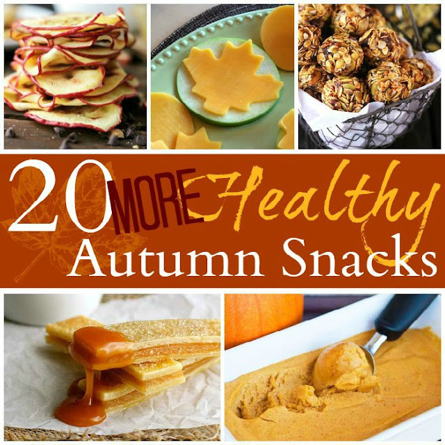 Healthy fall snacks that feature apples, pumpkins, and more! 20 great autumn choices for kids or grown-ups.
