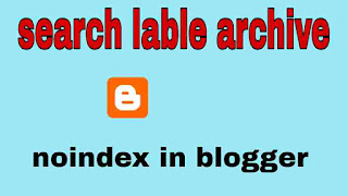 blogger blogs search page lable, archive ko noindex kaise kare
