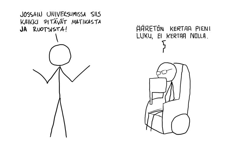 - Jossain universumissa siis kaikki pitävät matikasta JA ruotsista! - Ääretön kertaa pieni luku, ei kertaa nolla.
