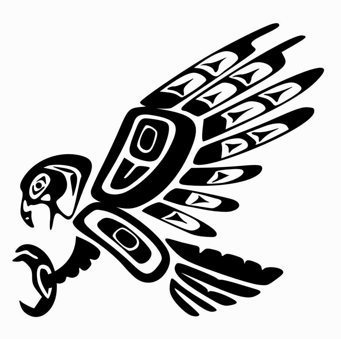 Eagle totem indian tattoo stencil