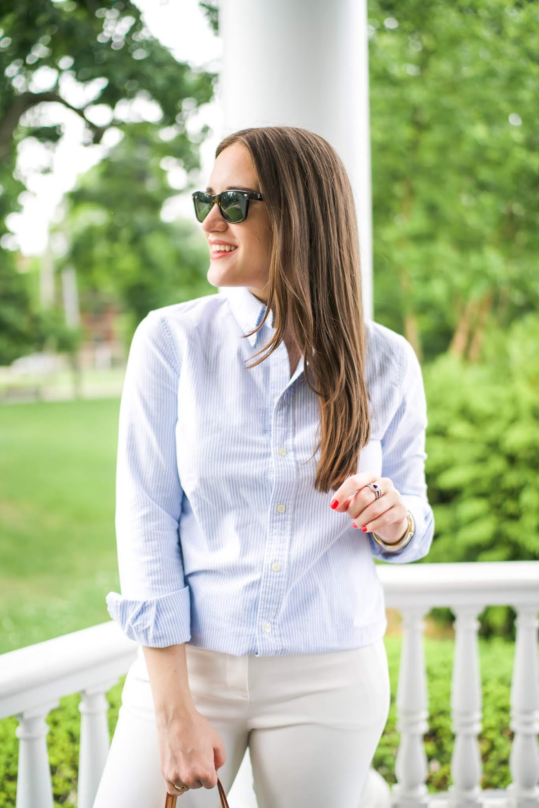 J.Crew Business Casual White Pants featured by popular New York style blogger, Covering the Bases