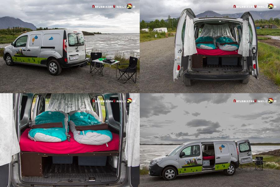 Nuestra campervan en el lago Myvatn, Islandia