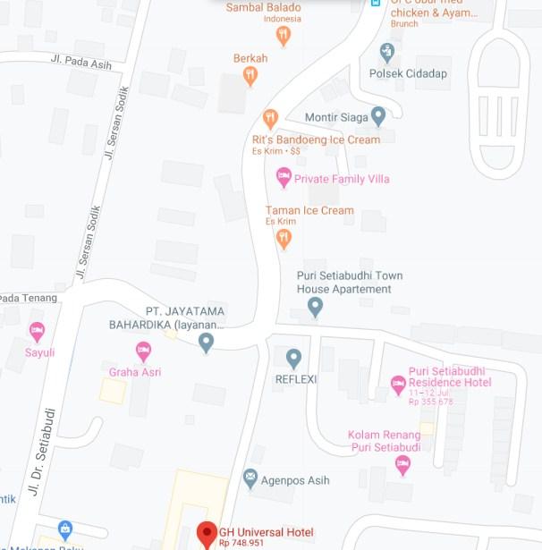 Map Letak Hotel GH Universal Bandung