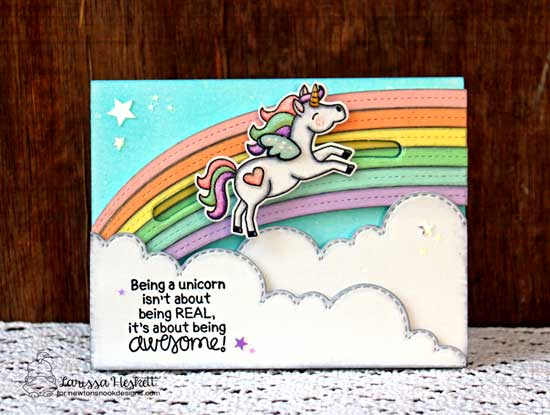 Unicorn Card by Larissa Heskett | Believe in Unicorns Stamp Set & Sky Borders Die set by Newton's Nook Designs #newtonsnook