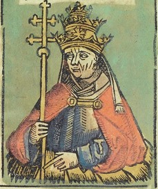Pope Paul II as depicted in the Nuremberg Chronicles in 1493