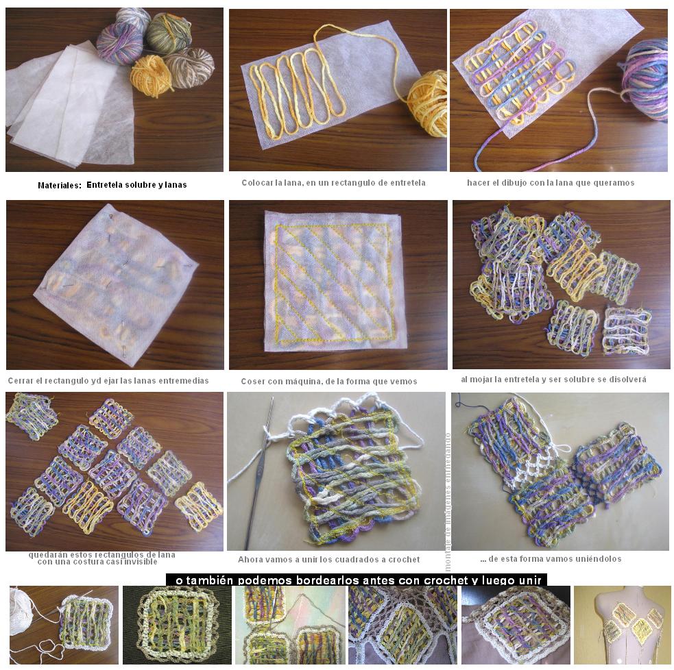 apliques, reciclar, restos de lanas, método, técnica, manualidades