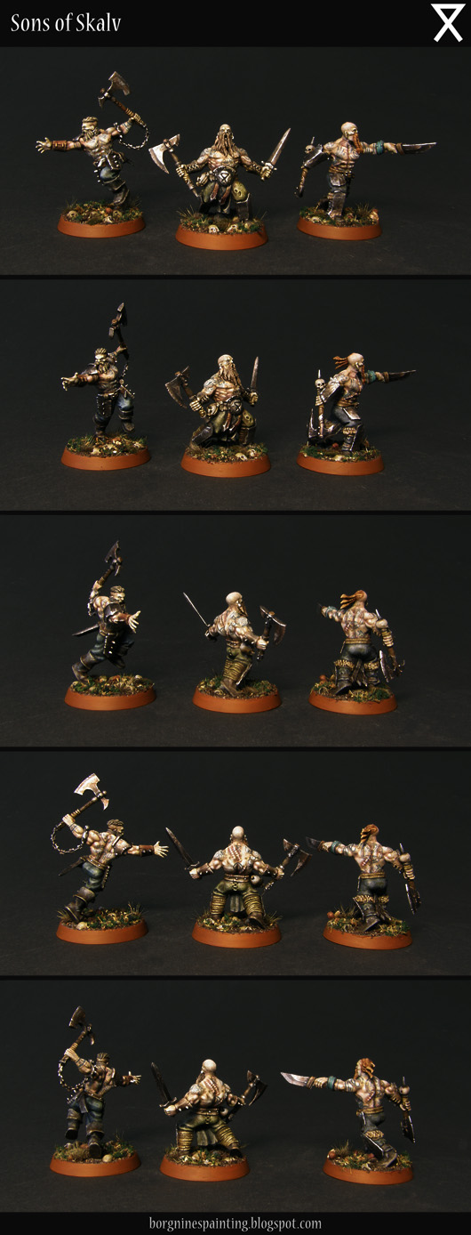 The rest of the warband, 3 miniatures seen from several angles - their weapons are less ornate, colors muted and dirty and with more hair sculpted on them - some of them have different heads to resemble vikings a little more. They have nordic tattoos freehanded on thier skin.