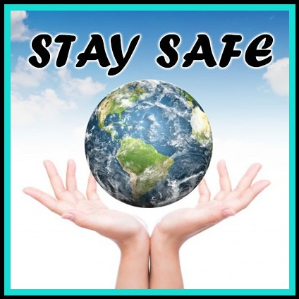 Hands with planet earth stay safe