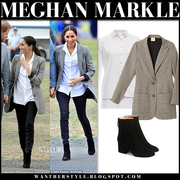 Meghan Markle in grey plaid blazer with white shirt and black jeans royal australian tour outfits october 17