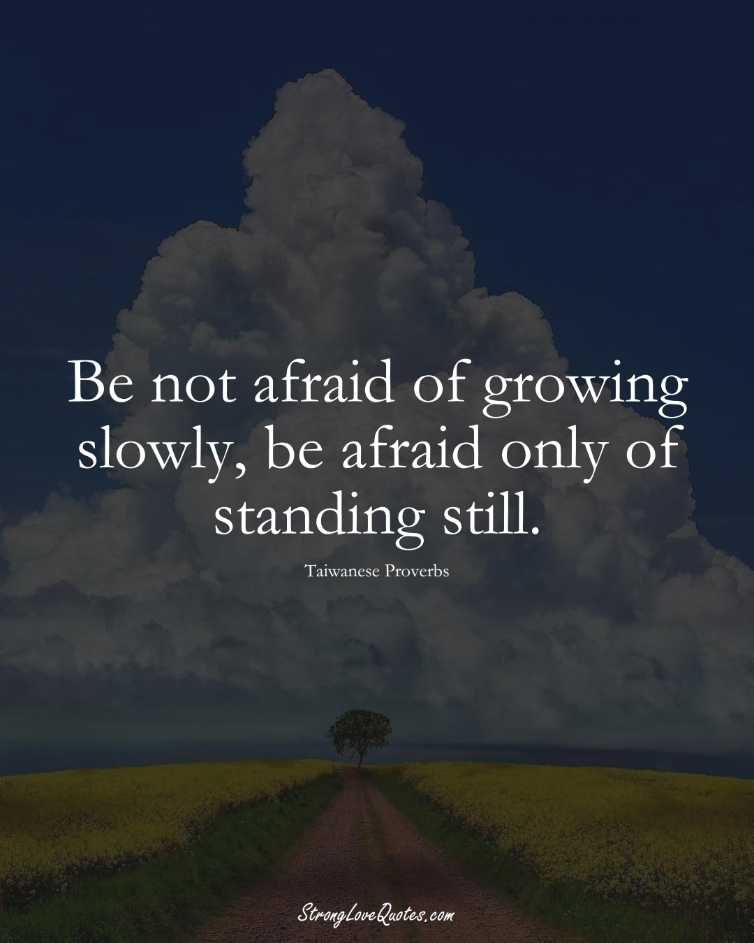 Be not afraid of growing slowly, be afraid only of standing still. (Taiwanese Sayings);  #AsianSayings