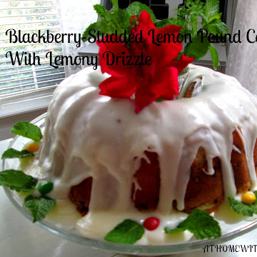 Blackberry Studded Lemon Pound Cake with Lemony Drizzle