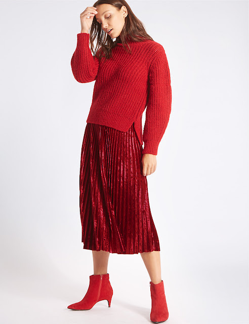 all red outfit red pleated skirt